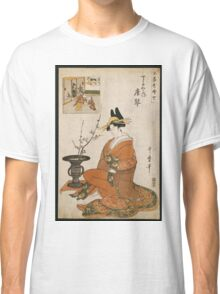 Kitagawa Utamaro - The Courtesan Karakoto Of The Chojiya Seated By An Arrangement Of Plum Flowers. Woman portrait: sensual geisha, female style, pretty women, femine,  eastern, beautiful dress, silk Classic T-Shirt