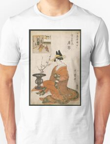 Kitagawa Utamaro - The Courtesan Karakoto Of The Chojiya Seated By An Arrangement Of Plum Flowers. Woman portrait: sensual geisha, female style, pretty women, femine,  eastern, beautiful dress, silk Unisex T-Shirt