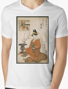 Kitagawa Utamaro - The Courtesan Karakoto Of The Chojiya Seated By An Arrangement Of Plum Flowers. Woman portrait: sensual geisha, female style, pretty women, femine,  eastern, beautiful dress, silk Mens V-Neck T-Shirt