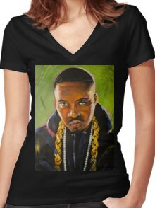 Nas Colorful Portrait Women's Fitted V-Neck T-Shirt