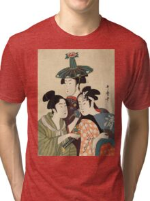 Kitagawa Utamaro - Three Young Men Or Women. Woman portrait: sensual woman, geisha, female style, pretty women, femine,  eastern, beautiful dress, headdress, silk, sexy lady,  mirror Tri-blend T-Shirt