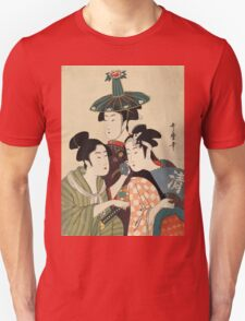 Kitagawa Utamaro - Three Young Men Or Women. Woman portrait: sensual woman, geisha, female style, pretty women, femine,  eastern, beautiful dress, headdress, silk, sexy lady,  mirror Unisex T-Shirt