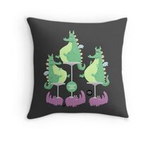 Dragons Ride Rhinos Throw Pillow