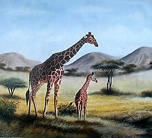 An oil painting of a Giraffe and a calf on gifts by Mutan