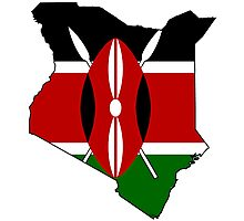 Kenya Map with Flag of Kenya Photographic Print