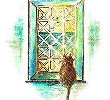 Curiosity  Cat by Teresa White