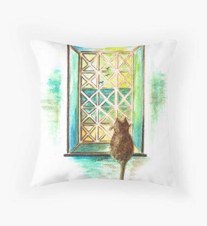 Curiosity  Cat Throw Pillow