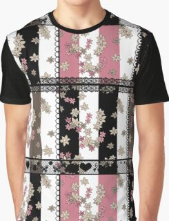 Ornamental pattern patchwork design print with flowers Graphic T-Shirt
