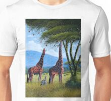 Oil painting of Giraffes chewing sweet leaves on gifts Unisex T-Shirt