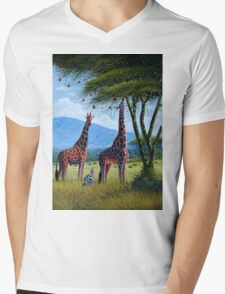 Oil painting of Giraffes chewing sweet leaves on gifts Mens V-Neck T-Shirt