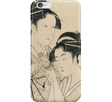 Kitagawa Utamaro - Osen Of Kagiya And Ohisa Of Takashima. Woman portrait: sensual woman, geisha, female style, pretty women, femine,  eastern, beautiful dress, headdress, silk, sexy lady,  mirror iPhone Case/Skin
