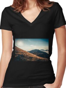 Mountains in the background XXIII Women's Fitted V-Neck T-Shirt