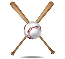 Baseball bats and baseball Photographic Print