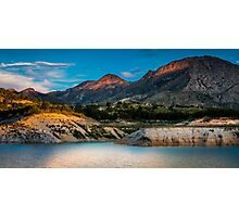 Early light on the mountains and the water Photographic Print