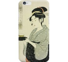 Kitagawa Utamaro - Portrait Of Naniwaya Okita. Woman portrait: sensual woman, geisha, female style, pretty women, femine,  eastern, beautiful dress, headdress, silk, sexy lady,  mirror iPhone Case/Skin