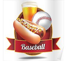 Baseball hot dog and beer design Poster