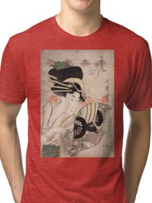 Kitagawa Utamaro - The Courtesan Ichikawa Of The Matsuba Establishment. Woman portrait: sensual woman, geisha, female style, pretty women, femine,  eastern, beautiful dress, headdress, silk, mirror Tri-blend T-Shirt