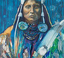 Medicine Crow Warrior - Pop art style Native American portrait by Jane Lauren