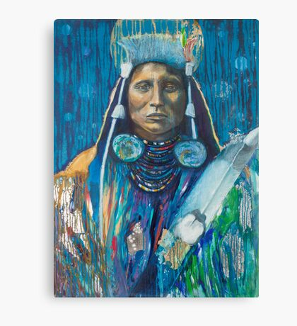 Medicine Crow Warrior - Pop art style Native American portrait Canvas Print