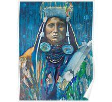 Medicine Crow Warrior - Pop art style Native American portrait Poster