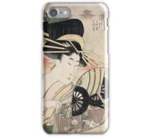 Kitagawa Utamaro - The Courtesan Ichikawa Of The Matsuba Establishmentlate. Woman portrait, sensual geisha, female style, pretty women, femine,  eastern, beautiful dress, headdress, silk, mirror iPhone Case/Skin