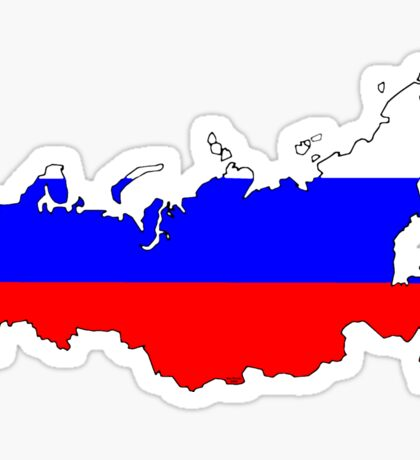 Russia Map with Russian Flag Sticker
