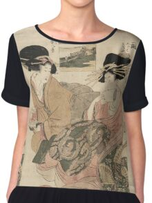 Kitagawa Utamaro - The Courtesan Tsukasa Of  Giya. Woman portrait: sensual woman, geisha, female style, pretty women, femine,  eastern, beautiful dress, headdress, silk, sexy lady,  mirror Chiffon Top