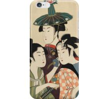 Kitagawa Utamaro - Three Young Men Or Women. Woman portrait: sensual woman, geisha, female style, pretty women, femine,  eastern, beautiful dress, headdress, silk, sexy lady,  mirror iPhone Case/Skin