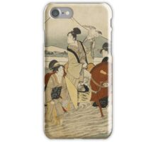 Kitagawa Utamaro - Ukiyo-E Print By Kitagawa Utamaro Of A Hunting Party. People portrait: People, woman and man,  Samurai, geisha , falcon, hunting, mount, river, women and men, trees, beautiful dress iPhone Case/Skin