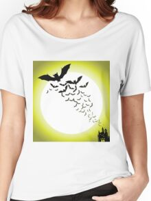 Bat silhouettes with full moon Women's Relaxed Fit T-Shirt