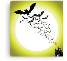 Bat silhouettes with full moon Canvas Print