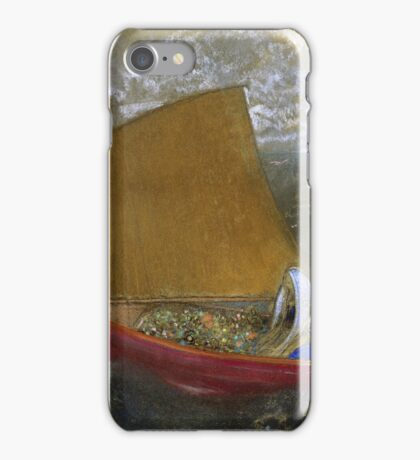 Odilon Redon - La Voile Jaune (The Yellow Sail). Sea landscape: sea view, naval yachts,  sail, sailing boat,  boat,  voile, marin, seascape, sun clouds, nautical panorama, ocean iPhone Case/Skin