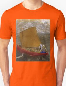 Odilon Redon - La Voile Jaune (The Yellow Sail). Sea landscape: sea view, naval yachts,  sail, sailing boat,  boat,  voile, marin, seascape, sun clouds, nautical panorama, ocean Unisex T-Shirt