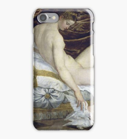 Lambert Sustris - Venus And Love 1550. Woman portrait: sensual woman, angel, doves, Venus, femine, couch, cute, nude, love, sexy lady, erotic pose iPhone Case/Skin