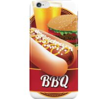BBQ barbecue hot dog hamburger and beer iPhone Case/Skin