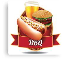 BBQ barbecue hot dog hamburger and beer Canvas Print
