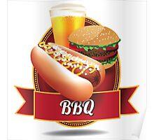 BBQ barbecue hot dog hamburger and beer Poster