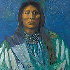 Equinox Warrior - Pop art style Native American portrait  by jane lauren