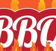 Flaming fiery BBQ symbol Sticker
