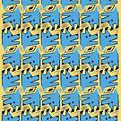 Blue Origami Dog Pattern  by Silvia Neto