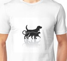Dog and cat silhouette Unisex T-Shirt