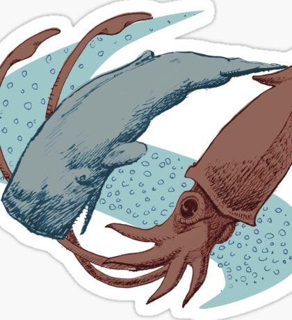 Sperm Whale And Giant Squid Sticker