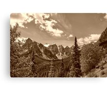 Valley of the Ten Peaks In Sepia Canvas Print
