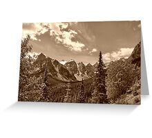 Valley of the Ten Peaks In Sepia Greeting Card