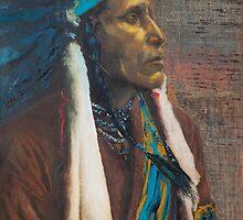 Raven Blanket - Nez Perce, Native American Chief by jane lauren