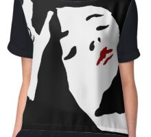 Red Lipstick: Black and White and Red ink illustration,  Chiffon Top