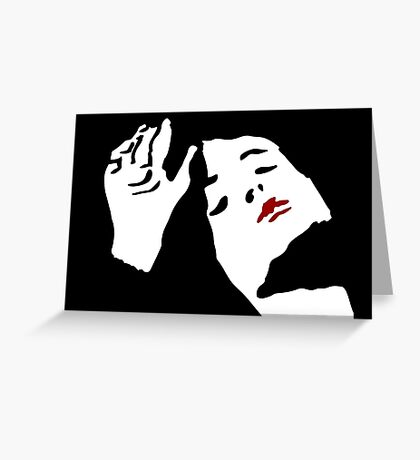 Red Lipstick: Black and White and Red ink illustration,  Greeting Card