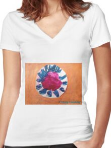 Kitty Flower - by Nadia Women's Fitted V-Neck T-Shirt