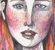 Watercolor Drawing of Young Woman  Sticker