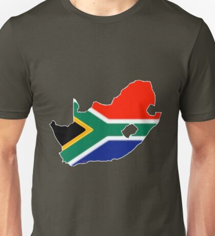 South Africa Map with South African Flag Unisex T-Shirt